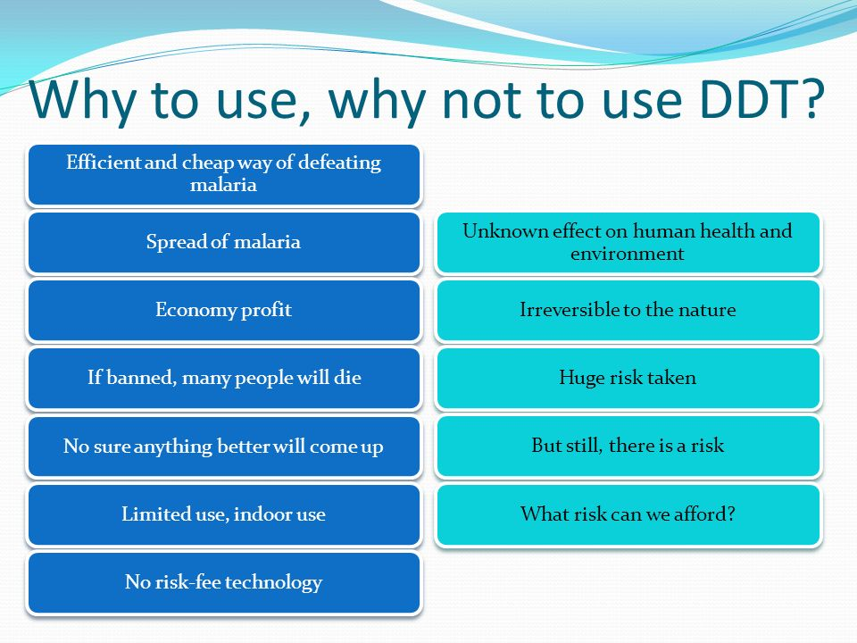 Why to use, why not to use DDT