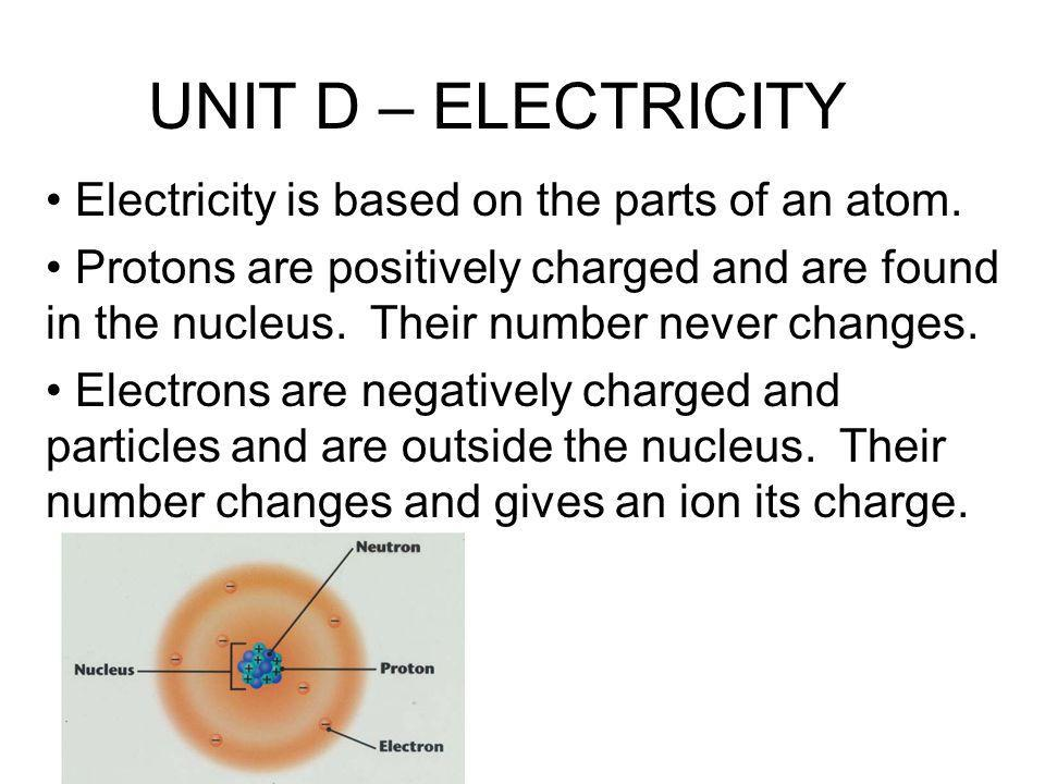 UNIT D – ELECTRICITY Electricity is based on the parts of an atom.