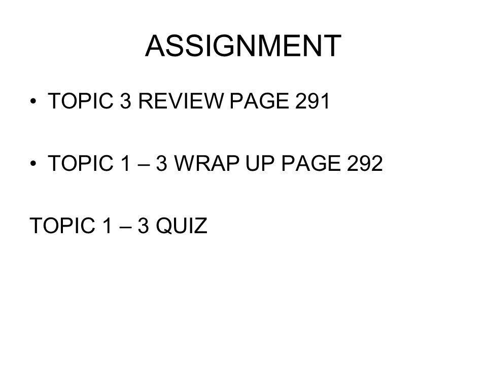 ASSIGNMENT TOPIC 3 REVIEW PAGE 291 TOPIC 1 – 3 WRAP UP PAGE 292