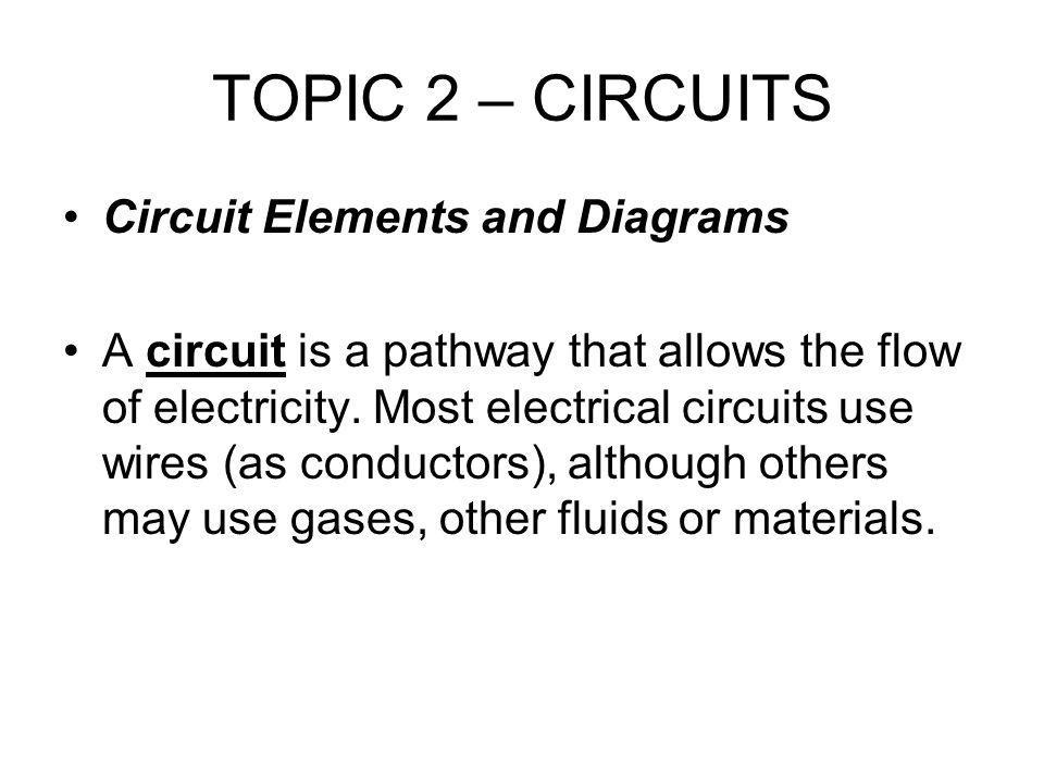 TOPIC 2 – CIRCUITS Circuit Elements and Diagrams