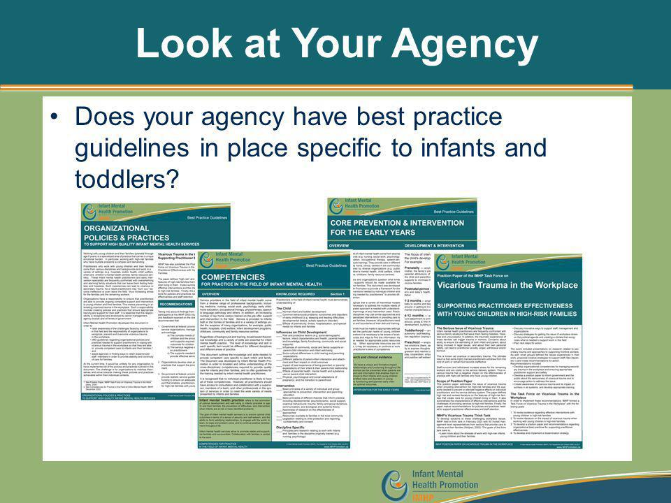 Look at Your Agency Does your agency have best practice guidelines in place specific to infants and toddlers