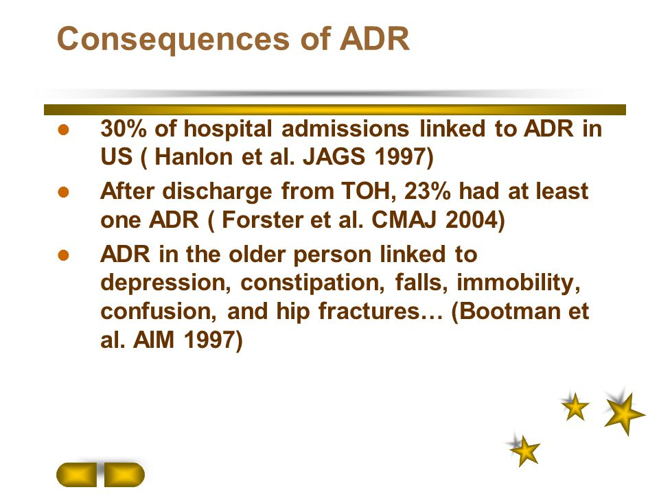 Consequences of ADR 30% of hospital admissions linked to ADR in US ( Hanlon et al. JAGS 1997)