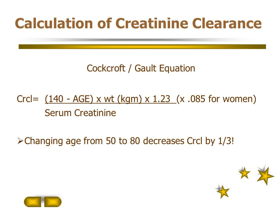 Calculation of Creatinine Clearance