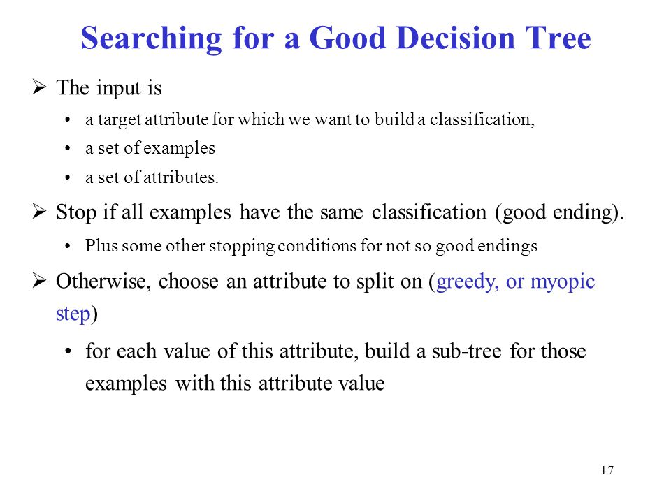 Searching for a Good Decision Tree