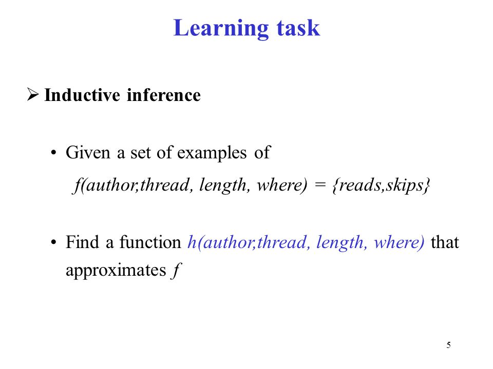Learning task Inductive inference Given a set of examples of