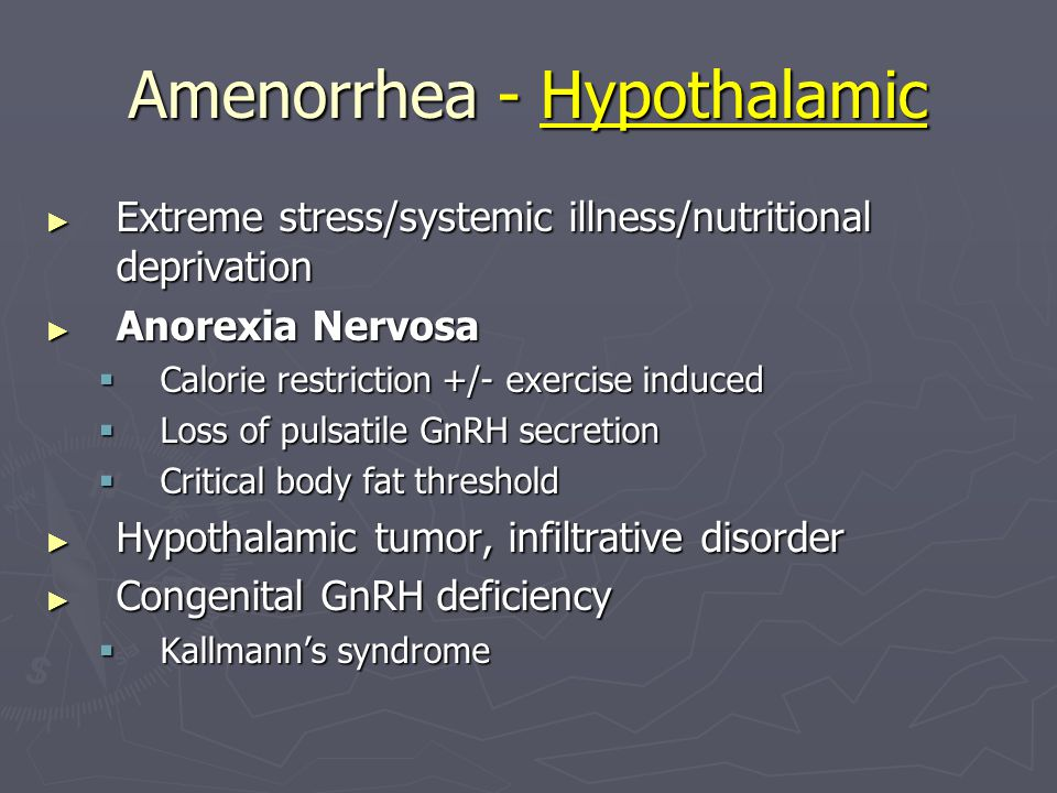 Amenorrhea - Hypothalamic