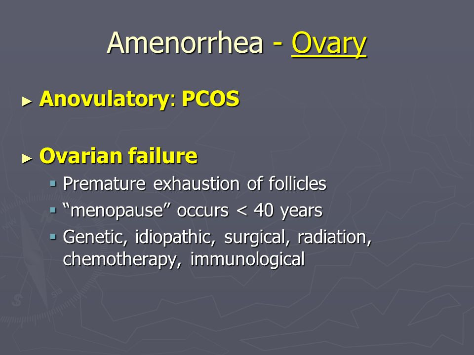 Amenorrhea - Ovary Anovulatory: PCOS Ovarian failure