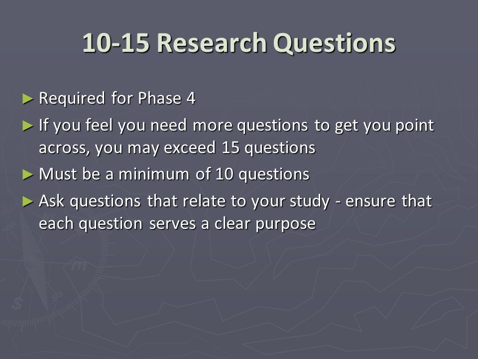 10-15 Research Questions Required for Phase 4