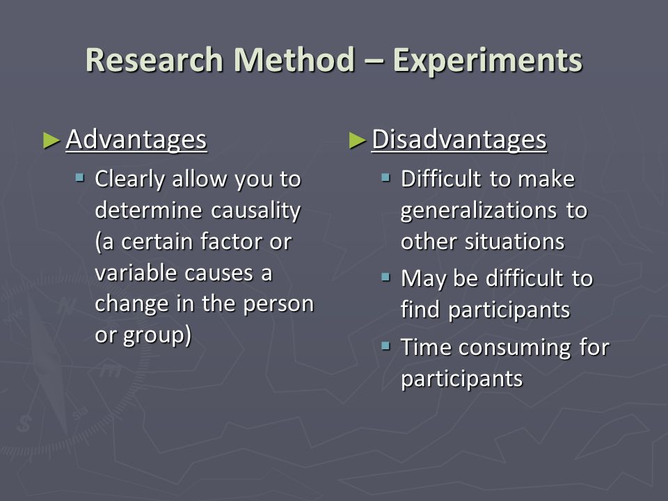 Research Method – Experiments