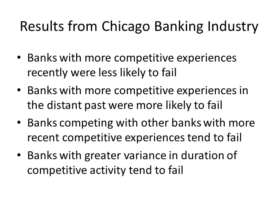 Results from Chicago Banking Industry