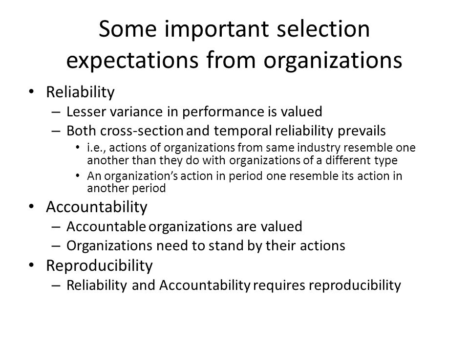 Some important selection expectations from organizations