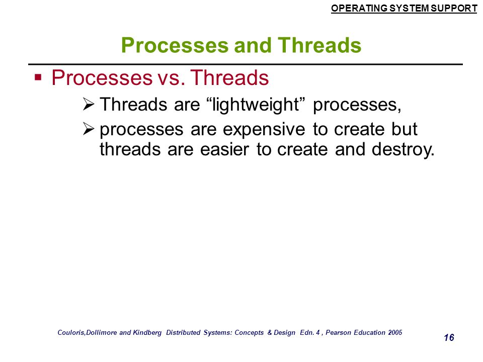 Processes and Threads Processes vs. Threads