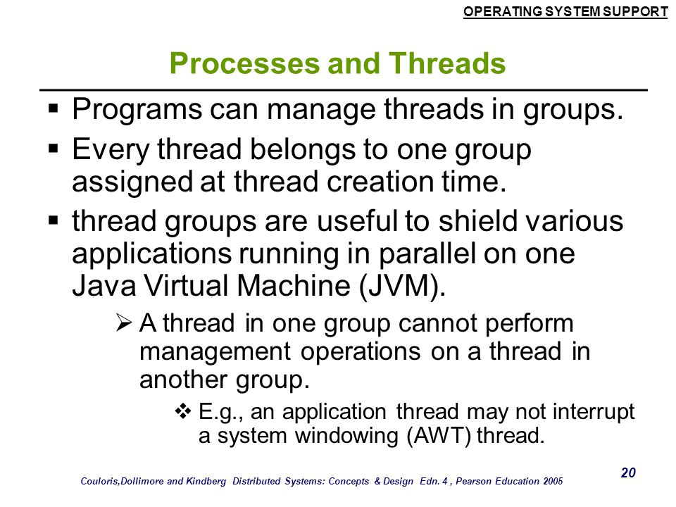 Programs can manage threads in groups.