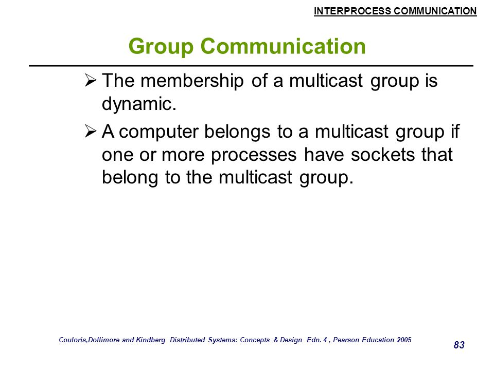 Group Communication The membership of a multicast group is dynamic.