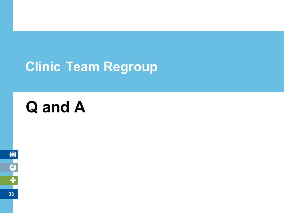 Q and A Clinic Team Regroup FACILITATOR NOTES: