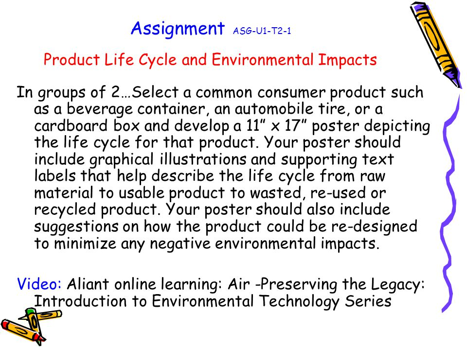 Assignment ASG-U1-T2-1 Product Life Cycle and Environmental Impacts