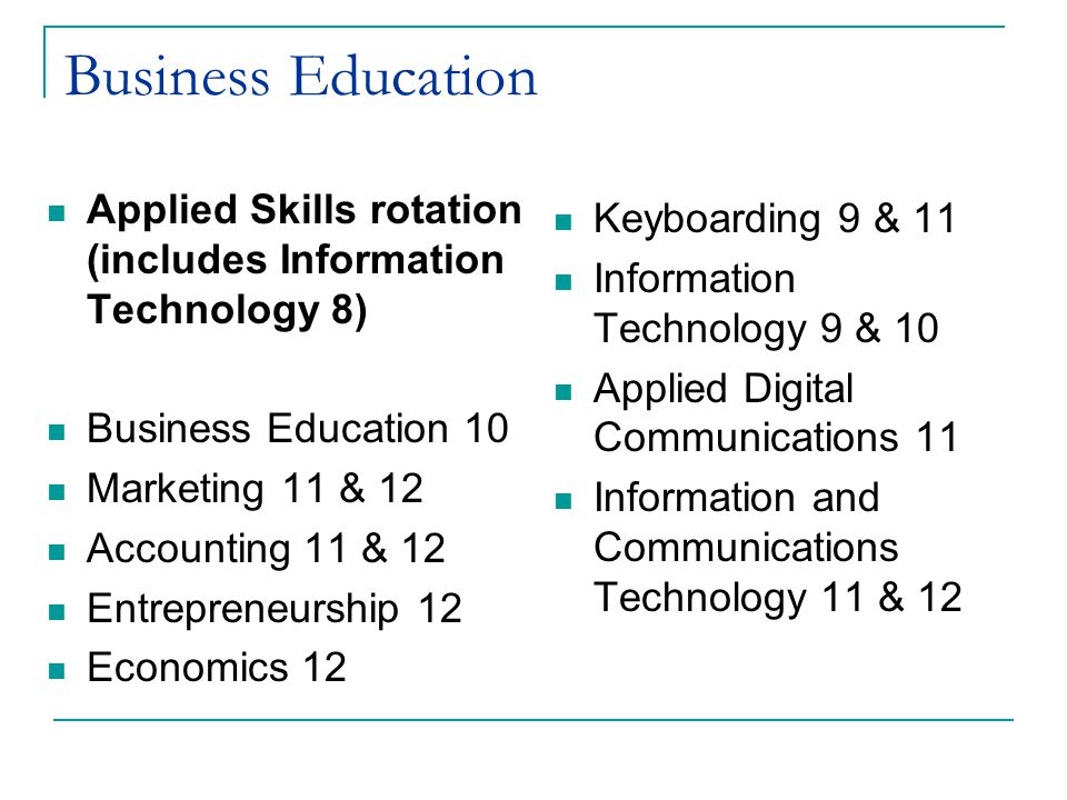Business Education Applied Skills rotation (includes Information Technology 8) Business Education 10.