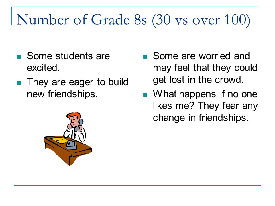 Number of Grade 8s (30 vs over 100)