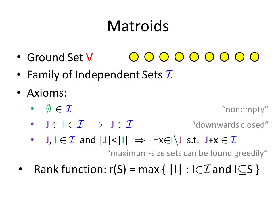 Matroids Ground Set V Family of Independent Sets I Axioms: