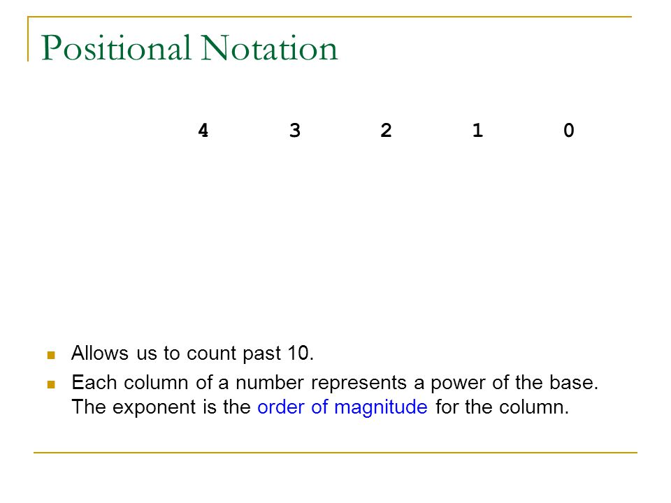 Positional Notation 104 103 102 101 100. 10000 1000 100 10 1. Allows us to count past 10.