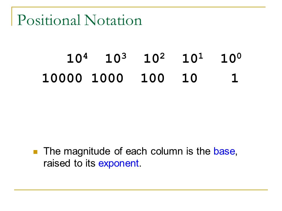 Positional Notation 104 103 102 101 100. 10000 1000 100 10 1.