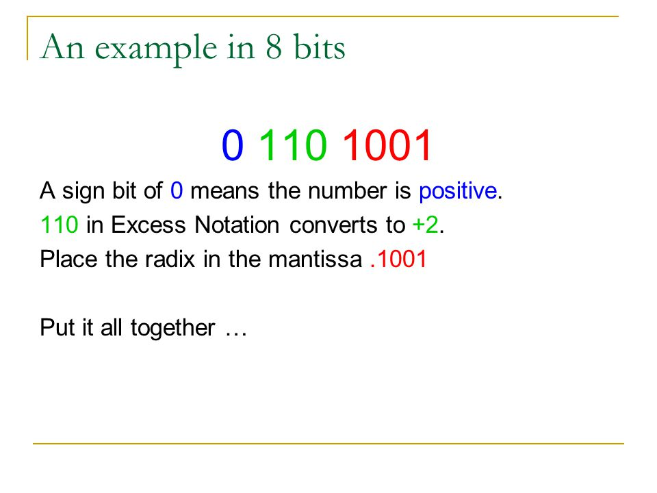 An example in 8 bits 0 110 1001. A sign bit of 0 means the number is positive. 110 in Excess Notation converts to +2.