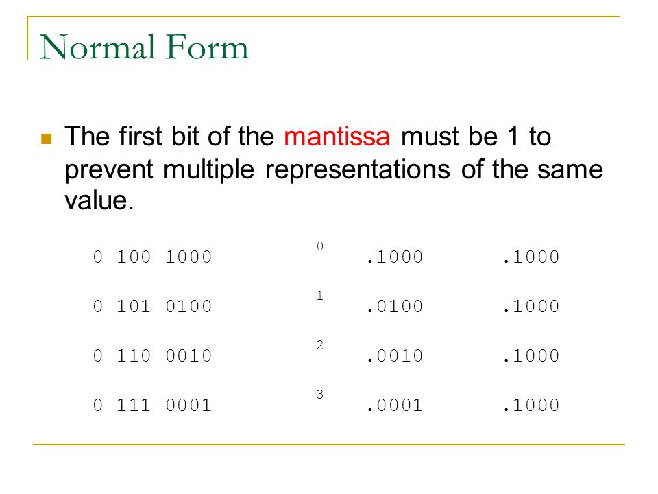 Normal Form The first bit of the mantissa must be 1 to prevent multiple representations of the same value.