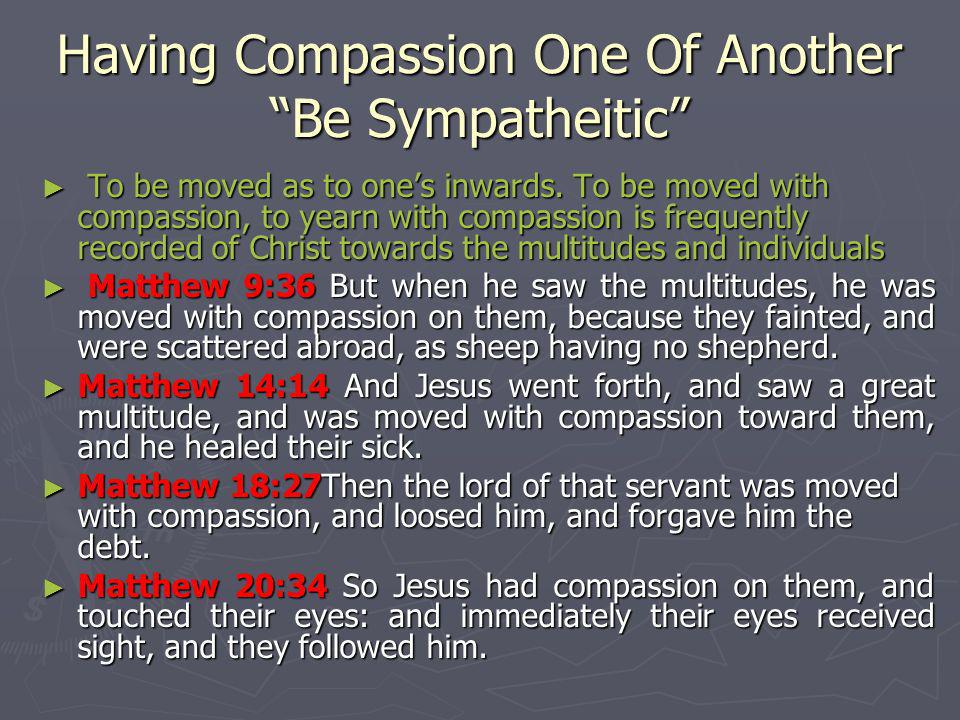 Having Compassion One Of Another Be Sympatheitic