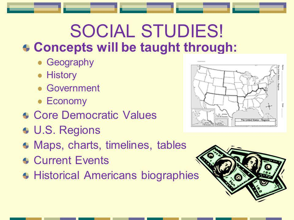 SOCIAL STUDIES! Concepts will be taught through: