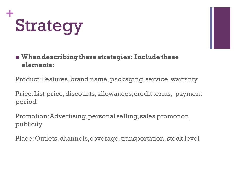 Strategy When describing these strategies: Include these elements: