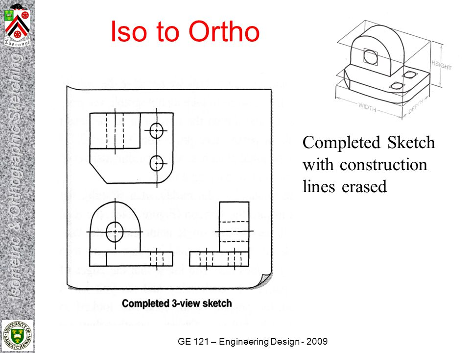 Iso to Ortho Completed Sketch with construction lines erased