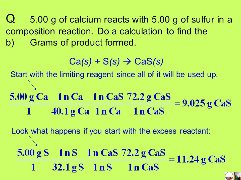 Q. 5. 00 g of calcium reacts with 5