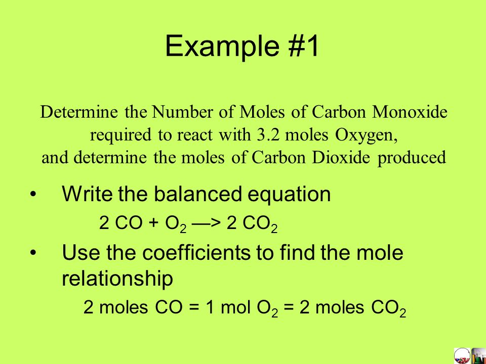 Example #1 Write the balanced equation