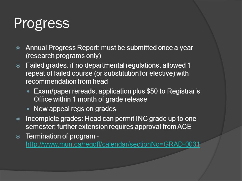 Progress Annual Progress Report: must be submitted once a year (research programs only)