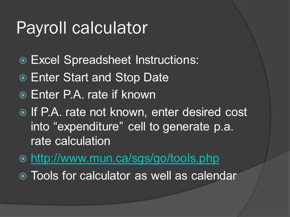 Payroll calculator Excel Spreadsheet Instructions: