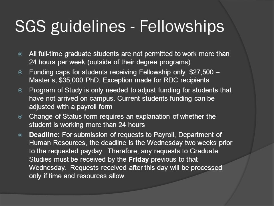 SGS guidelines - Fellowships
