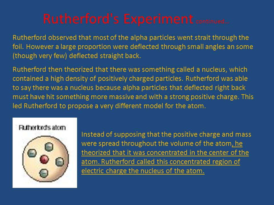 Rutherford s Experiment continued…
