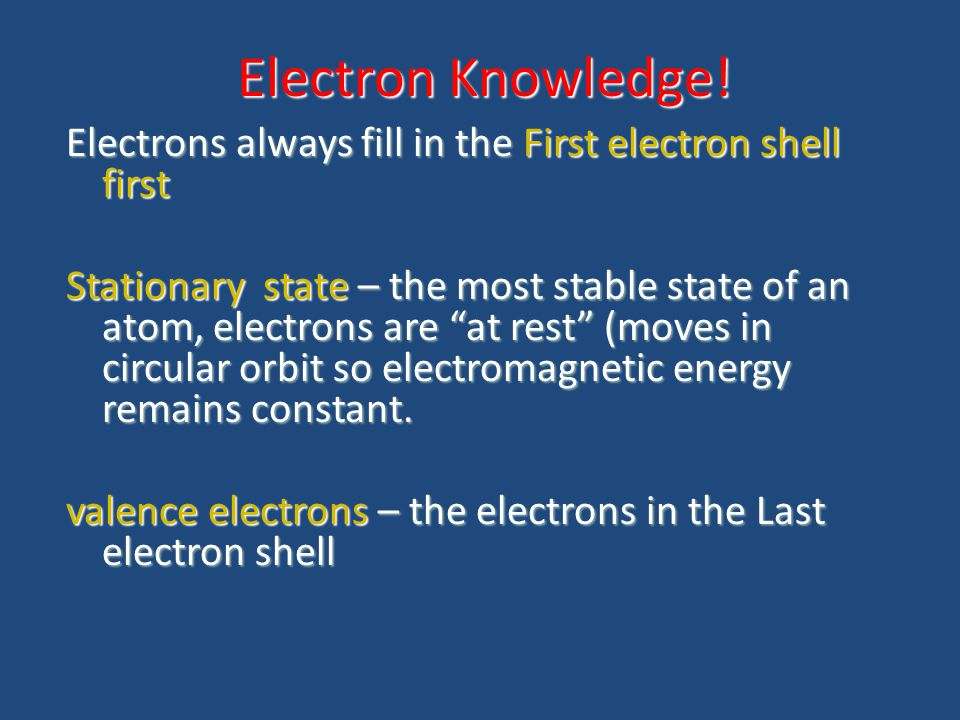 Electron Knowledge! Electrons always fill in the First electron shell first.