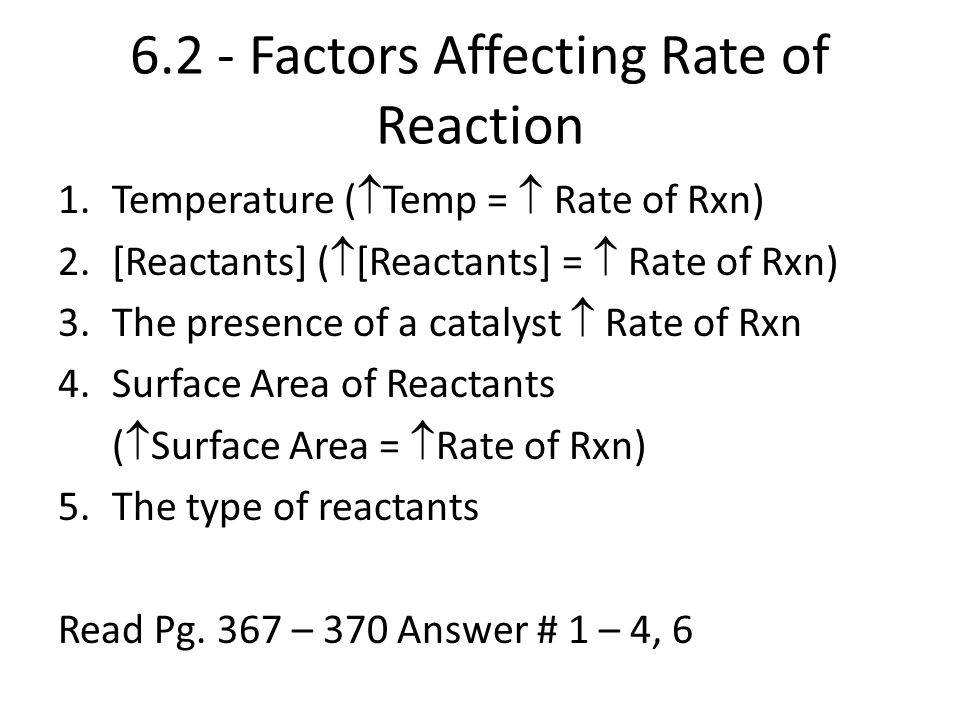 6.2 - Factors Affecting Rate of Reaction