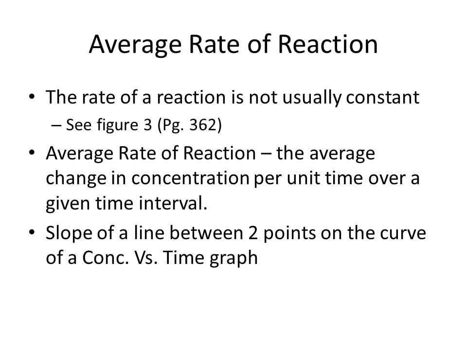 Average Rate of Reaction