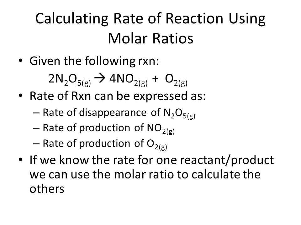 Calculating Rate of Reaction Using Molar Ratios