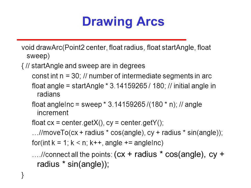Drawing Arcs void drawArc(Point2 center, float radius, float startAngle, float sweep) { // startAngle and sweep are in degrees.