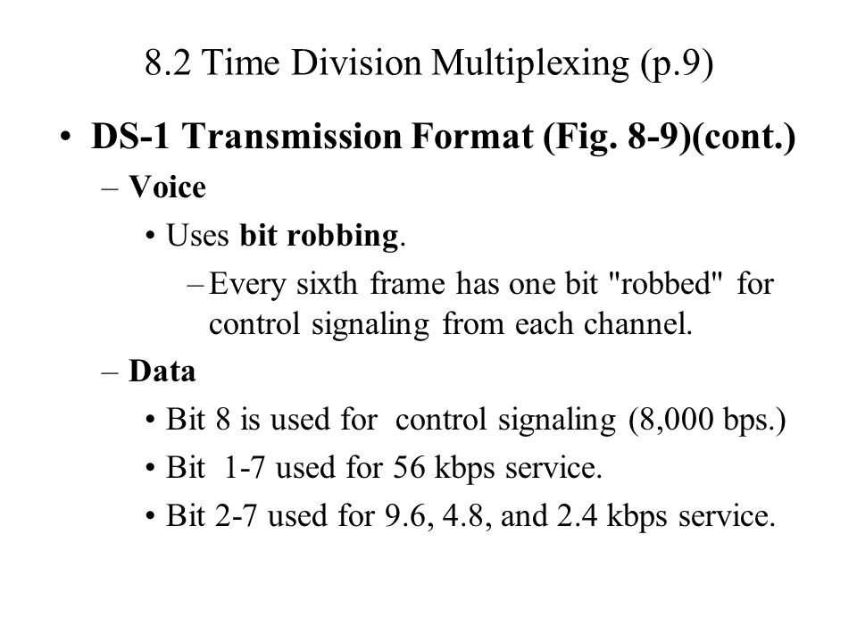 8.2 Time Division Multiplexing (p.9)