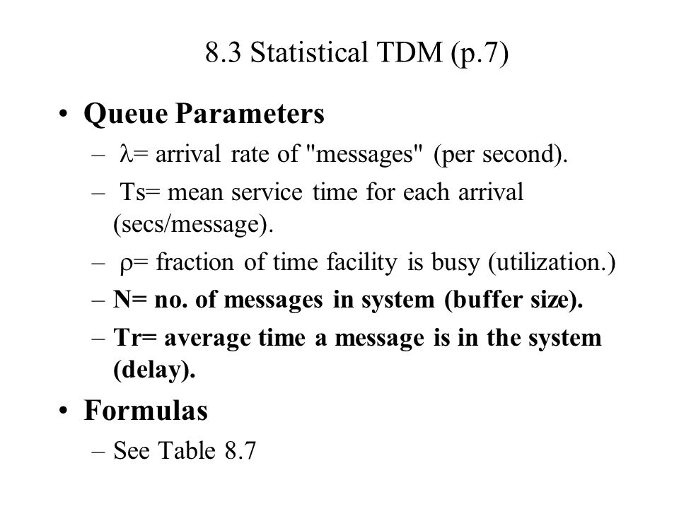 8.3 Statistical TDM (p.7) Queue Parameters Formulas