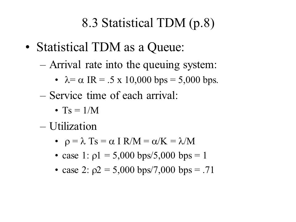 Statistical TDM as a Queue: