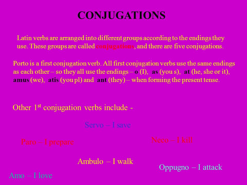 CONJUGATIONS Other 1st conjugation verbs include - Servo – I save