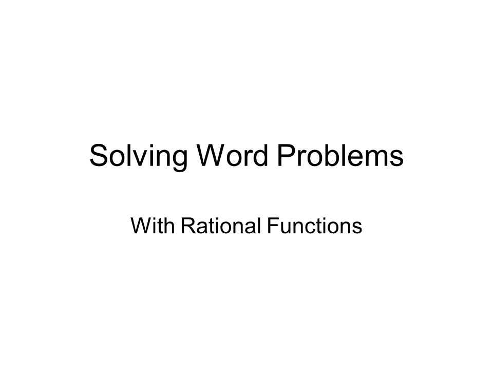 With Rational Functions