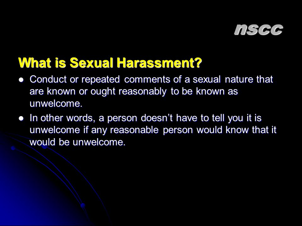 nscc What is Sexual Harassment