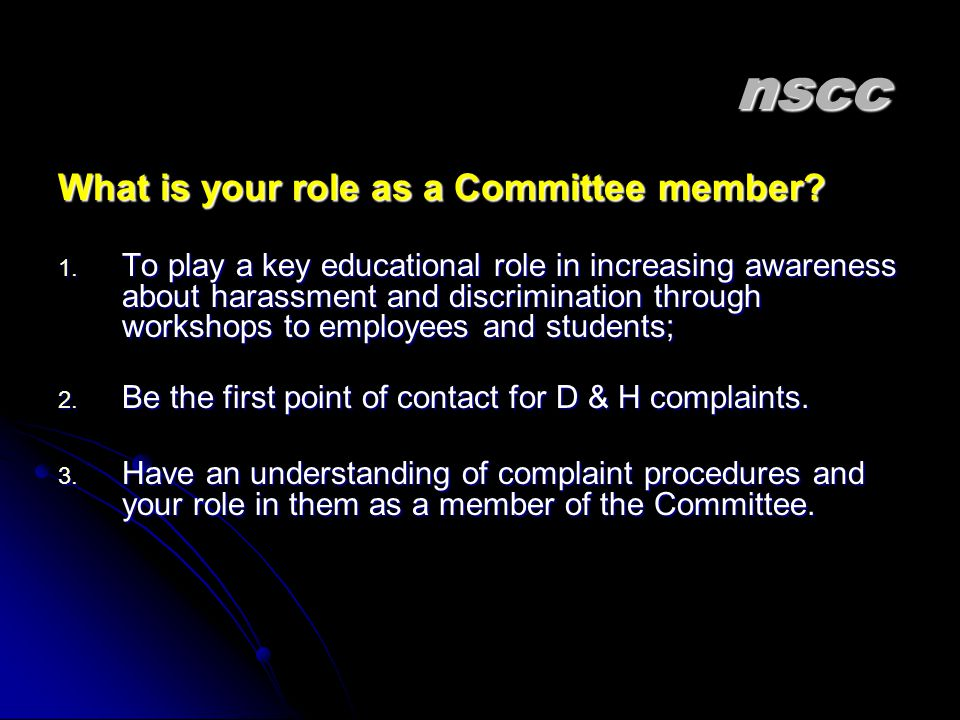 nscc What is your role as a Committee member
