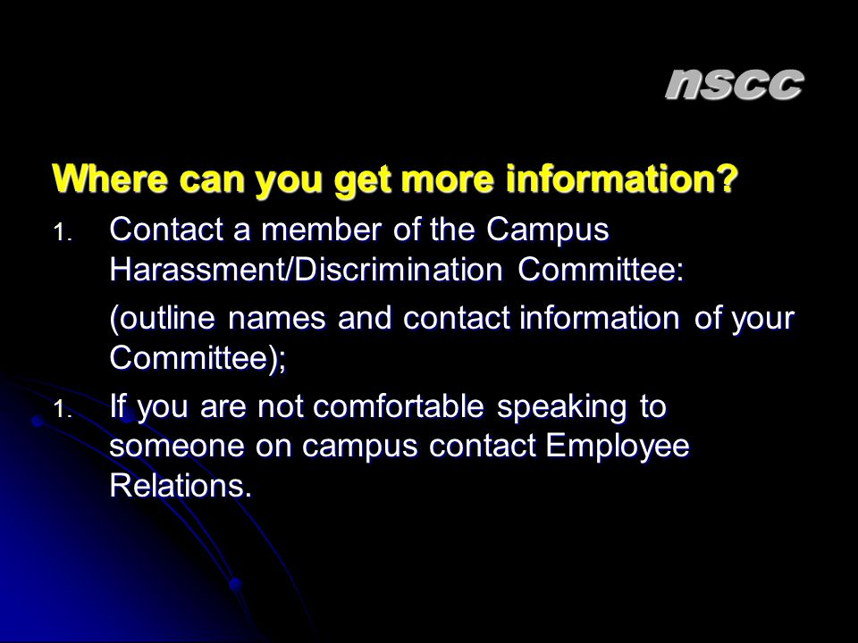 nscc Where can you get more information